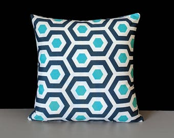 Outdoor Turquoise Blue Geometric Pillow Cover