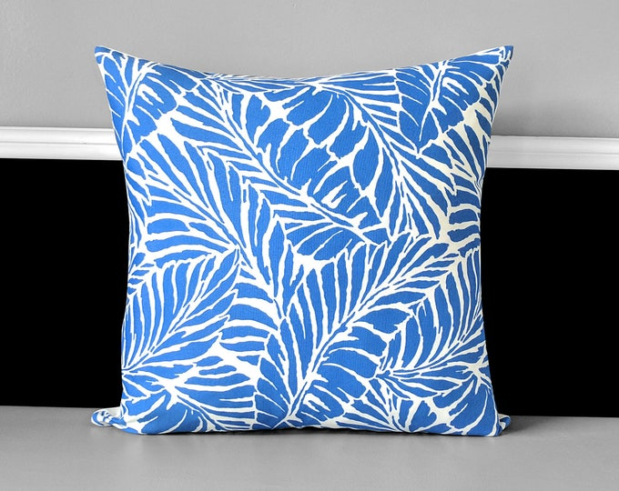 Blue Palm Leaves Pillow Cover