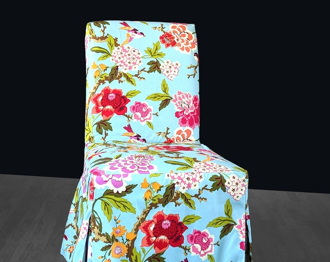 Blue Colorful Floral IKEA HENRIKSDAL Chair Cover, Skirt