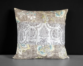 Patchwork Silver Gray Damask Floral Pillow Cover