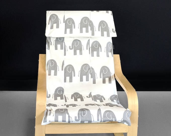SAMPLE White Elephant Patchwork Kids Ikea Poang Seat Cover, Childrens Nursery Ikea Chair Cover
