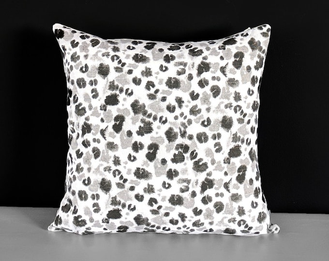 Black Animal Paw Print Pillow Cover