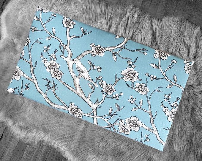 Blue Floral Birds, IKEA HEMMAHOS Bench Pad Slip Cover, Dwell Studio Blossom Jade