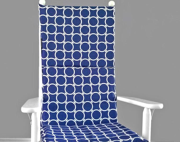 Navy Nautical Rocking Chair Pad