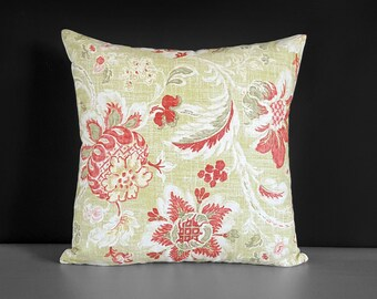 Rose Pink Green Damask Floral Toss Pillow Cover