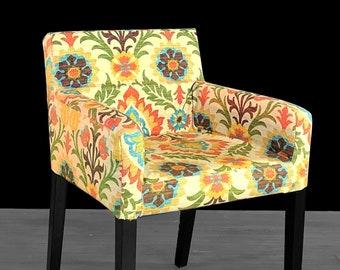 IKEA NILS Chair Slip Cover, Mexican Floral Furniture Prints, Santa Maria Adobe