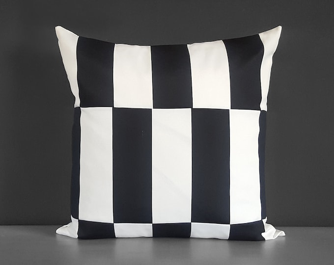 Outdoor Checkered Black White Pillow Cover