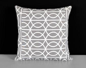 Patchwork Gray Geometric Pattern, Dwell Studio, Bella Porte Charcoal