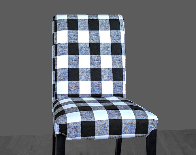 Plaid Buffalo Check Black White IKEA HENRIKSDAL Dining Chair Cover, Traditional Style Henriksdal Slipcover