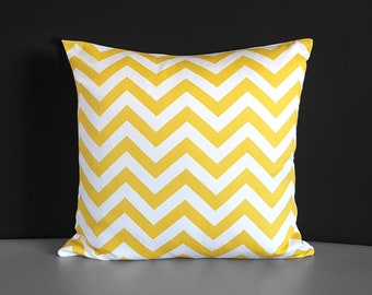 "Yellow Chevron Pillow Cover 18"" x 18"""