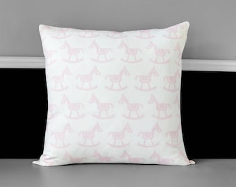 Rocking Horse Baby Pink Pillow Cover