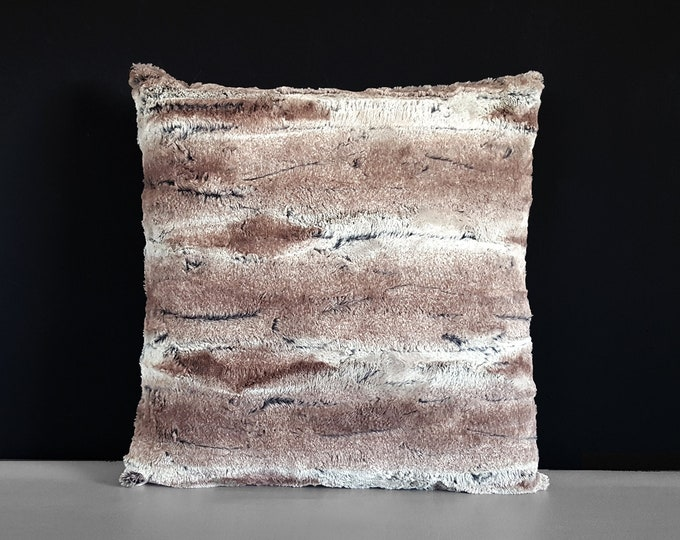 Brown Faux Fur Pillow Cover, 18""