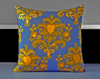 "Indigo Gold Floral Toss Pillow Covers 19"" x 19"", Ready to Ship"