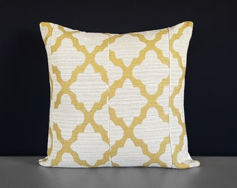 Patchwork Gold Trellis, Beige Pillow Cover