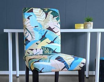 Blush Pink Teal Jungle Print IKEA HENRIKSDAL Dining Chair Cover, Bespoke Leaves Henriksdal Covers, Jungle Ikea Chair Covers
