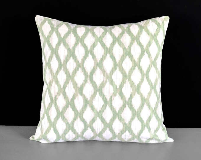Diamond Pattern, Sage Green Indian Ikat Print Pillow Cover