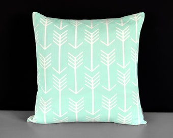 "Mint Green Arrow Pillow Cushion Cover 21"" x 21"""