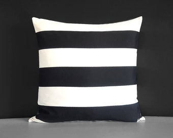 Outdoor Black White Stripe Pillow Cover