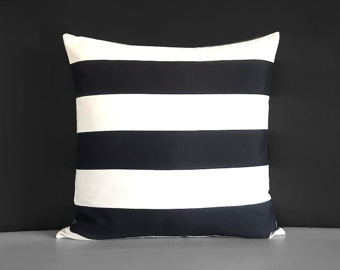 Black White Stripe Pillow Cover