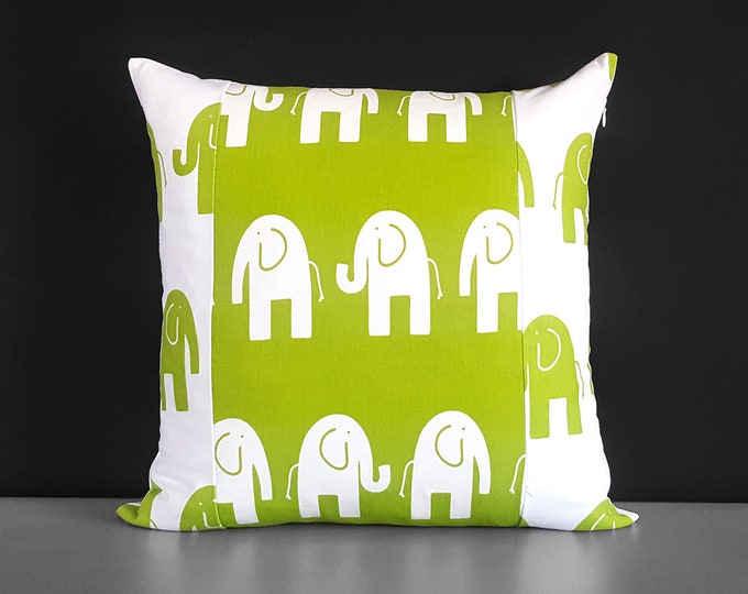 Patchwork Green Elephants Pillow Cover