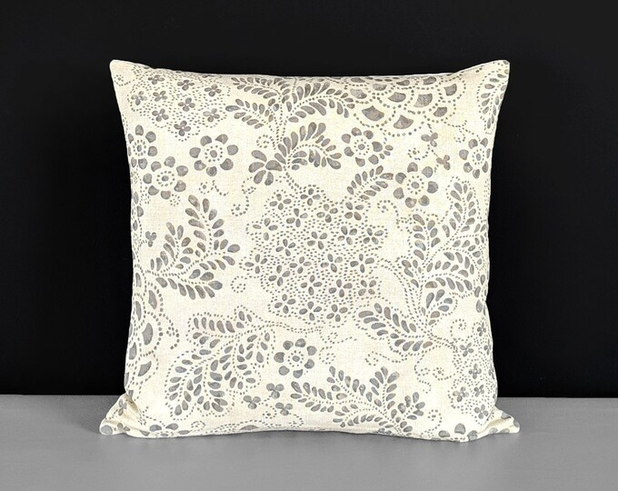Gray Dot Paisley Pattern, Beige Floral Pillow Cover