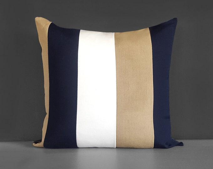 Sunbrella Outdoor Beige Navy Stripe Pillow Cover