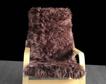 Brown Fur IKEA POÄNG Cushion Slipcover, Custom Fur Ikea Chair Cover