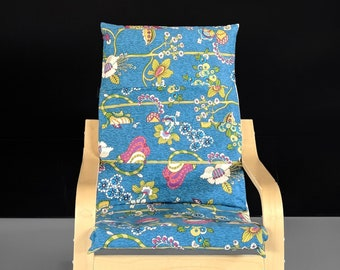 Blue Teal Flowers Kids Ikea Poang Seat Cover