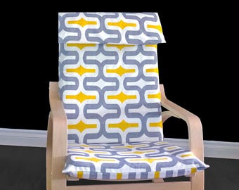 Yellow Patterned Poang Seat Cover, Summerhouse Ikea Chair Covers