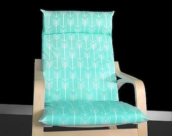 Arrow Print IKEA POÄNG Cushion Slipcover, Mint Ikea Poang Chair Cover