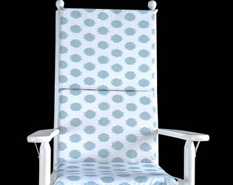 Light Blue Polka Dot Rocking Chair Cover, Blue Rocking Chair Cover