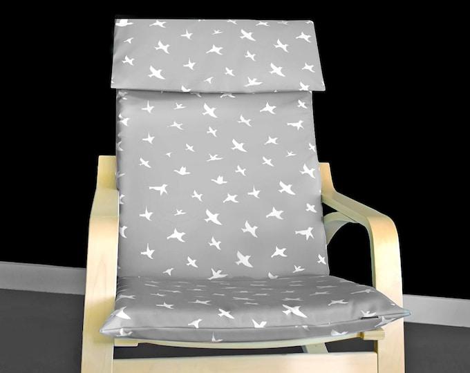 Gray Bird Print IKEA POÄNG Cushion Slipcover