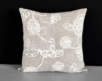 """Patchwork Magnolia Slate Gray Throw Pillow Cover, 18"""" x 18"""""""