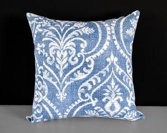 "Denim Damask Indian Pillow Cover, 18"" x 18"""