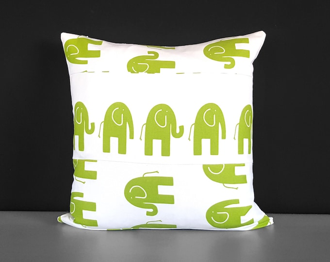 Patchwork Green White Elephants Pillow Cover