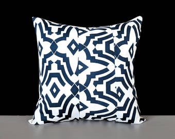 Geometric Navy Blue White Print Pillow Cover