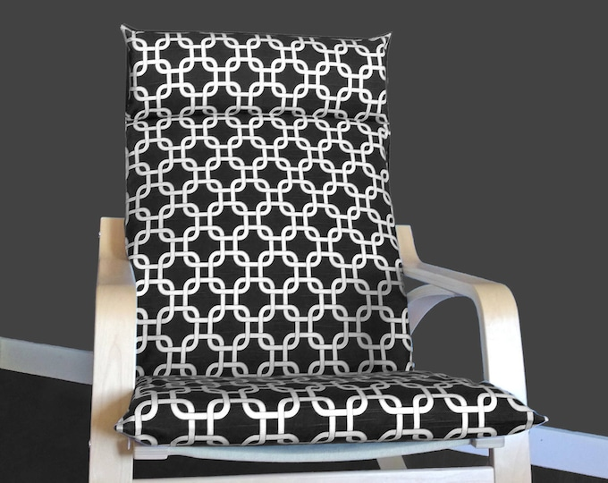 Geometric Black IKEA POÄNG Cushion Slipcover, Patterned Custom Ikea Chair Covers