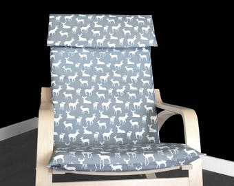 IKEA Seat Cover, Ikea Poang Chair Cover, Gray Deer