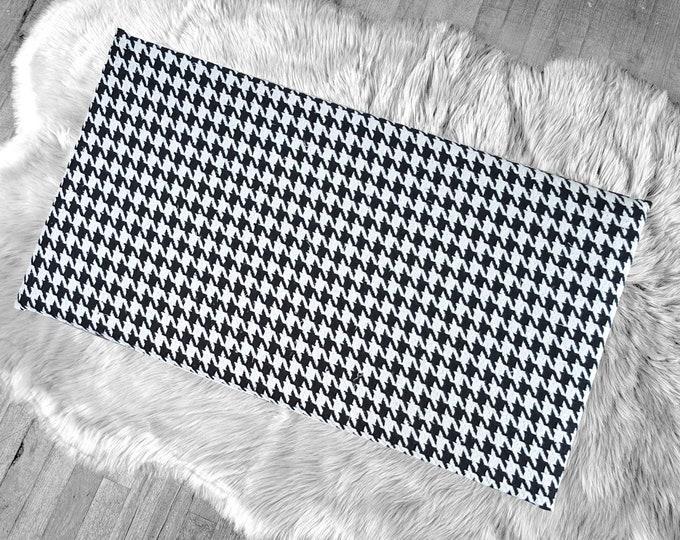 Houndstooth Gray Black IKEA HEMMAHOS Bench Pad Slip Cover