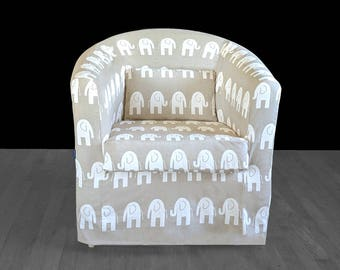 IKEA Chair Slip Cover, Beige Elephant Baby Nursery Print for Tullsta Bucket Chair