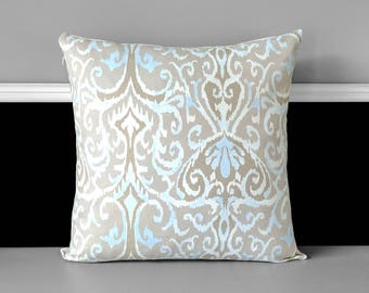 Beige Gray Ikat Pattern Pillow Cover