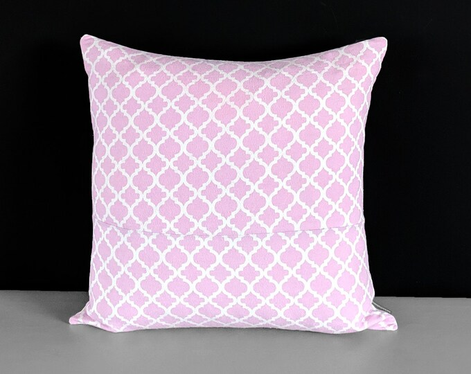 Pink Flannel Trellis Pillow Cover