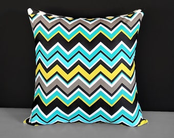 "Colorful Zig Zag Chevron Pillow Covers 20"" x 20"""