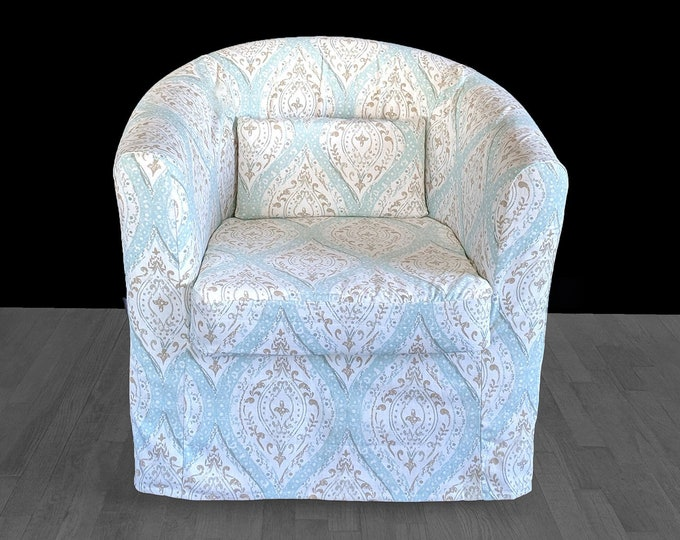 Custom Blue Damask IKEA TULLSTA Chair Slip Cover