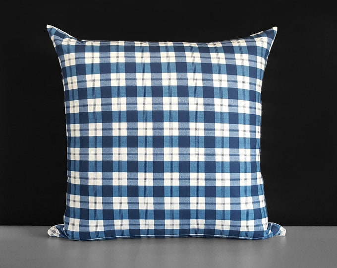 Plaid Navy, Pillow Cover
