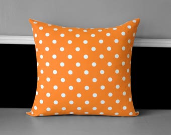 Orange White Polka Dot Pillow Cover