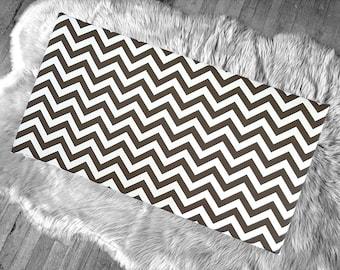 Chocolate Brown Chevron Pattern IKEA STUVA Bench Pad Slip Cover, Zig Zag