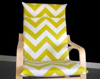 SALE IKEA POÄNG Cushion Slipcover, Chevron, Ikea Chair Covers, Gold Green