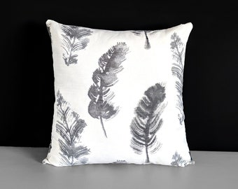 """Gray Feathers Pillow Cover 18"""" x 18"""""""