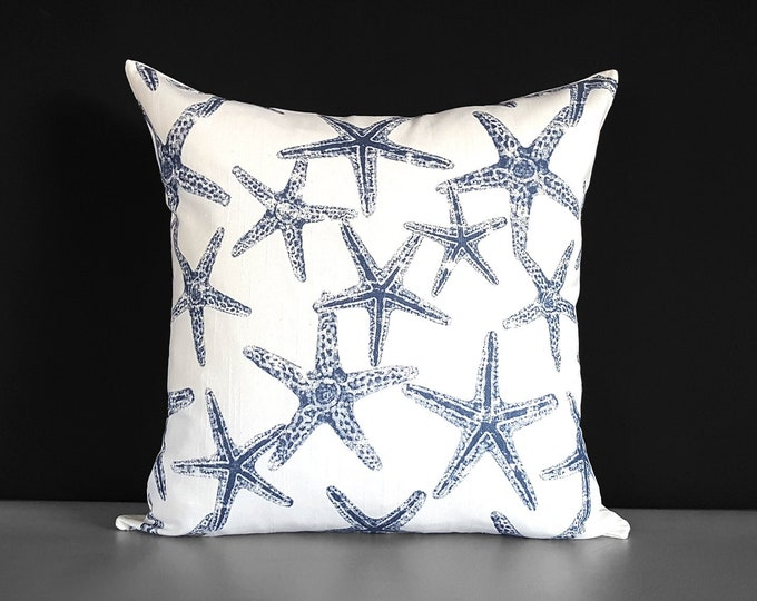Navy Blue Starfish Pillow Cover